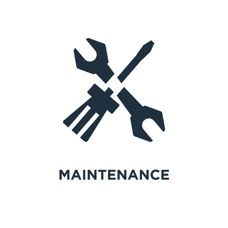 Maintenance icon. Black filled vector illustration. Maintenance symbol on white background. Can be used in web and mobile.