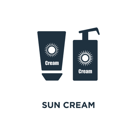 Sun cream icon. Black filled vector illustration. Sun cream symbol on white background. Can be used in web and mobile.