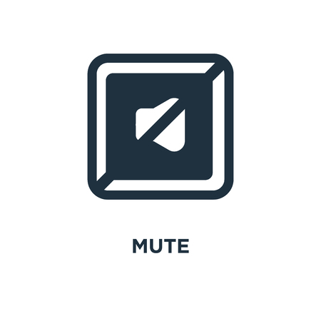 Mute icon. Black filled vector illustration. Mute symbol on white background. Can be used in web and mobile. Stock Illustratie