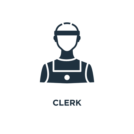 Clerk icon. Black filled vector illustration. Clerk symbol on white background. Can be used in web and mobile. Illustration