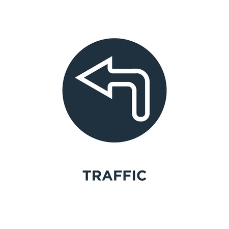 Traffic sign icon. Black filled vector illustration. Traffic sign symbol on white background. Can be used in web and mobile.