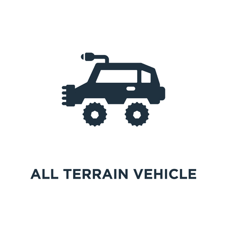 All terrain vehicle icon. Black filled vector illustration. All terrain vehicle symbol on white background. Can be used in web and mobile.