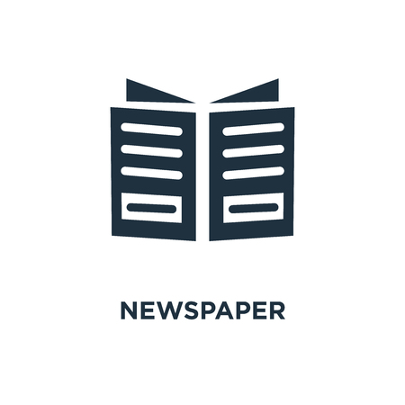 Newspaper icon. Black filled vector illustration. Newspaper symbol on white background. Can be used in web and mobile. Ilustrace