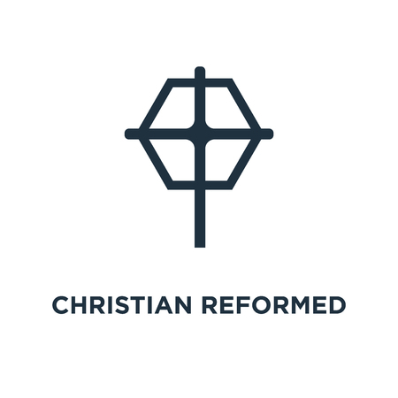 Christian Reformed Church icon. Black filled vector illustration. Christian Reformed Church symbol on white background. Can be used in web and mobile.
