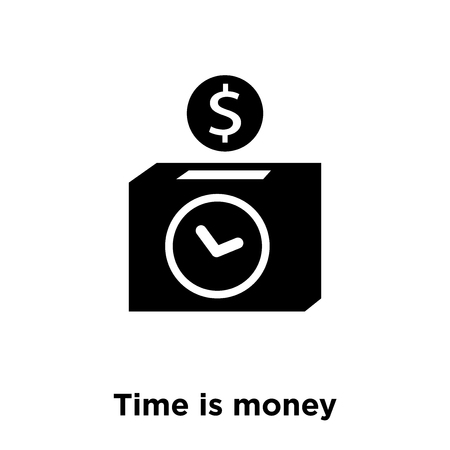 Time is money icon vector isolated on white background, logo concept of Time is money sign on transparent background, filled black symbol