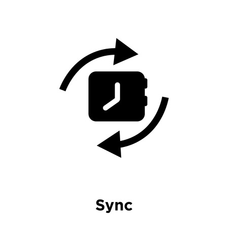Sync icon vector isolated on white background, logo concept of Sync sign on transparent background, filled black symbol
