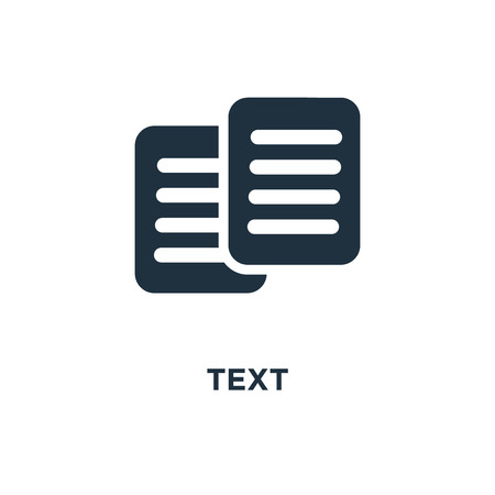 Text icon. Black filled vector illustration. Text symbol on white background. Can be used in web and mobile.