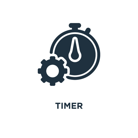 Timer icon. Black filled vector illustration. Timer symbol on white background. Can be used in web and mobile. Illustration