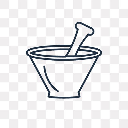 Mortar with mace vector outline icon isolated on transparent background, high quality linear Mortar with mace transparency concept can be used web and mobile