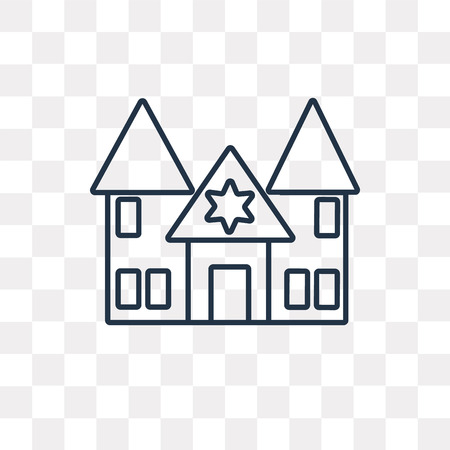 Synagogue vector outline icon isolated on transparent background, high quality linear Synagogue transparency concept can be used web and mobile  イラスト・ベクター素材