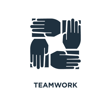 Teamwork icon. Black filled vector illustration. Teamwork symbol on white background. Can be used in web and mobile.
