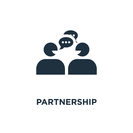 Partnership icon. Black filled vector illustration. Partnership symbol on white background. Can be used in web and mobile. Illusztráció