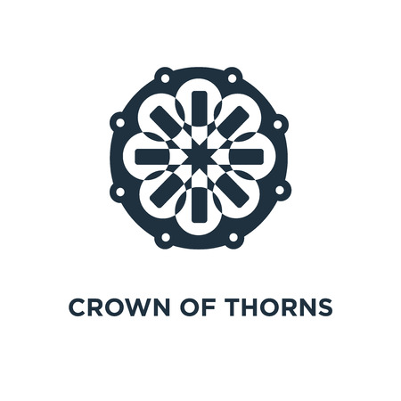 Crown of thorns icon. Black filled vector illustration. Crown of thorns symbol on white background. Can be used in web and mobile.