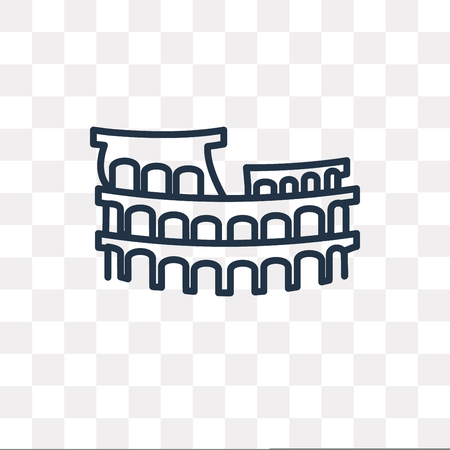 Colosseum vector outline icon isolated on transparent background, high quality linear Colosseum transparency concept can be used web and mobile