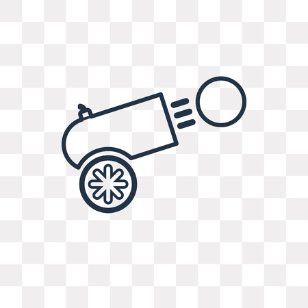 Cannon vector outline icon isolated on transparent background, high quality linear Cannon transparency concept can be used web and mobile