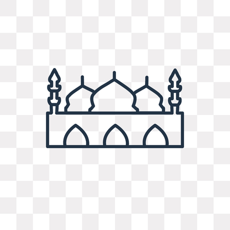 Taj mahal vector outline icon isolated on transparent background, high quality linear Taj mahal transparency concept can be used web and mobile