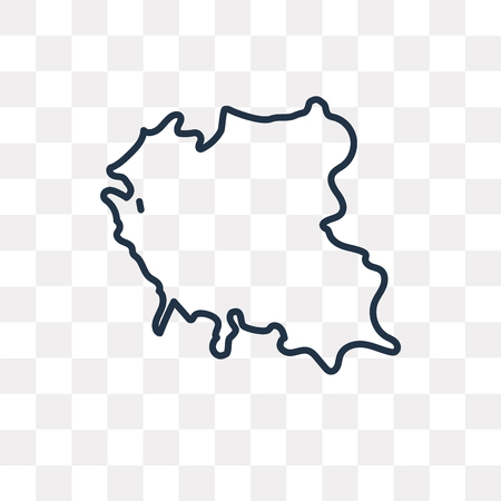 Poland map vector outline icon isolated on transparent background, high quality linear Poland map transparency concept can be used web and mobile Ilustração