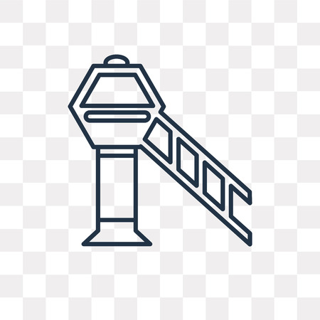 Airport tower vector outline icon isolated on transparent background, high quality linear Airport tower transparency concept can be used web and mobile