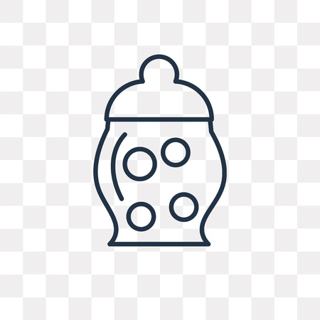 Jar Full of Food vector outline icon isolated on transparent background, high quality linear Jar Full of Food transparency concept can be used web and mobile