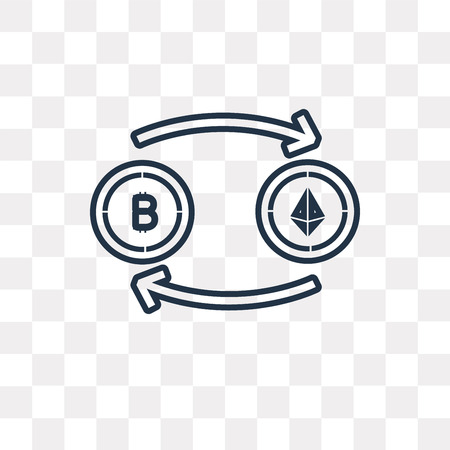 Blockchain vector outline icon isolated on transparent background, high quality linear Blockchain transparency concept can be used web and mobile