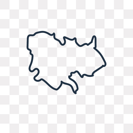 Cambodia map vector outline icon isolated on transparent background, high quality linear Cambodia map transparency concept can be used web and mobile Ilustração