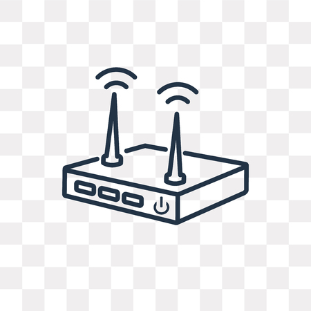 Modem vector outline icon isolated on transparent background, high quality linear Modem transparency concept can be used web and mobile Illustration