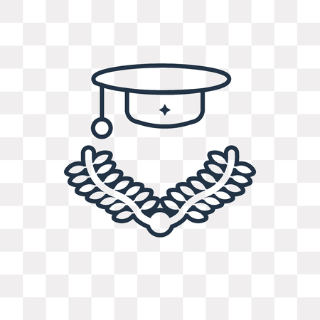 Graduation cap vector outline icon isolated on transparent background, high quality linear Graduation cap transparency concept can be used web and mobile