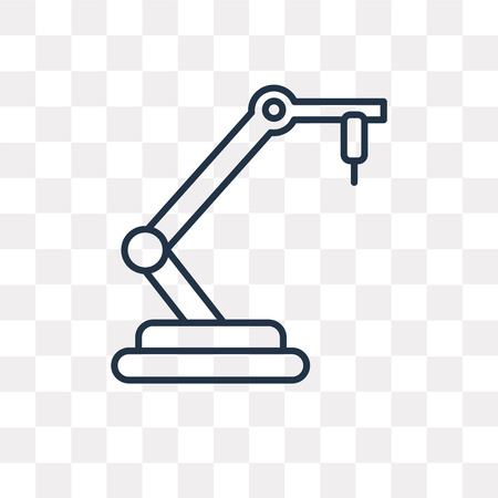 Robotic arm vector outline icon isolated on transparent background, high quality linear Robotic arm transparency concept can be used web and mobile Illustration