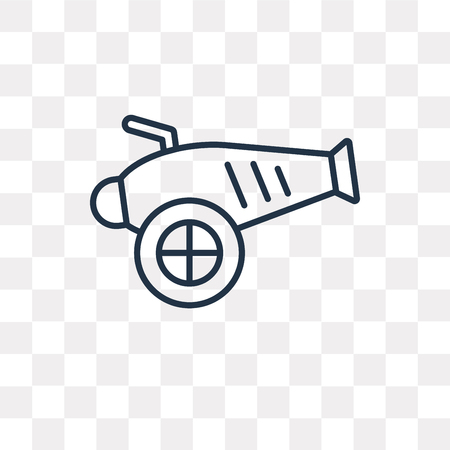 Artillery vector outline icon isolated on transparent background, high quality linear Artillery transparency concept can be used web and mobile