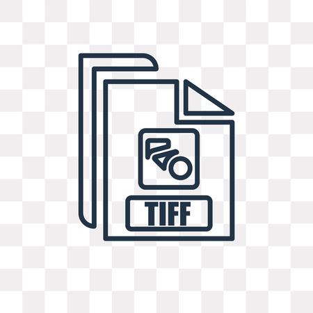 Tiff vector outline icon isolated on transparent background, high quality linear Tiff transparency concept can be used web and mobile