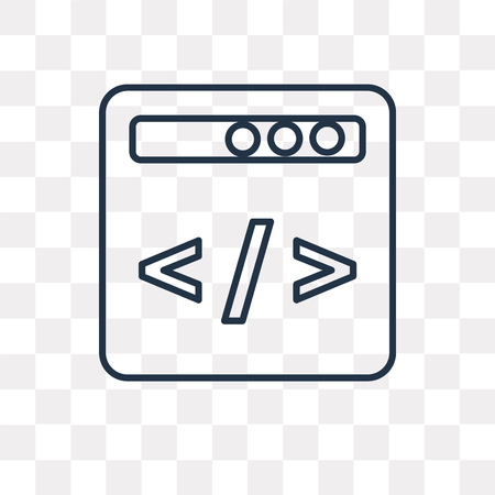 Code vector outline icon isolated on transparent background, high quality linear Code transparency concept can be used web and mobile