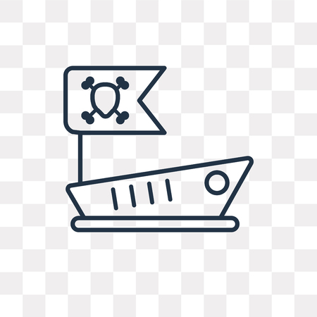 Pirate ship vector outline icon isolated on transparent background, high quality linear Pirate ship transparency concept can be used web and mobile