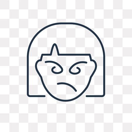 Wütendes Vektor-Umrisssymbol isoliert auf transparentem Hintergrund, hochwertiges lineares Wütend-Transparenzkonzept kann im Web und mobil verwendet werden