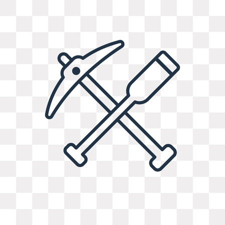 Digging Bar vector outline icon isolated on transparent background, high quality linear Digging Bar transparency concept can be used web and mobile Illustration