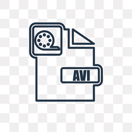 Avi vector outline icon isolated on transparent background, high quality linear Avi transparency concept can be used web and mobile Illustration