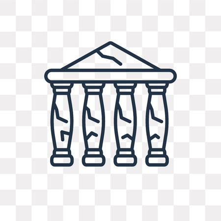 Parthenon vector outline icon isolated on transparent background, high quality linear Parthenon transparency concept can be used web and mobile