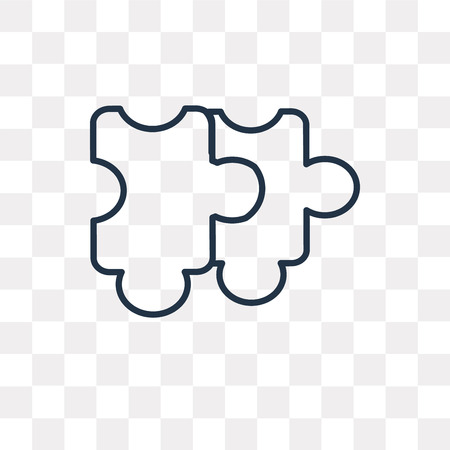 Puzzle vector outline icon isolated on transparent background, high quality linear Puzzle transparency concept can be used web and mobile