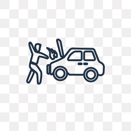 Accident vector outline icon isolated on transparent background, high quality linear Accident transparency concept can be used web and mobile  イラスト・ベクター素材