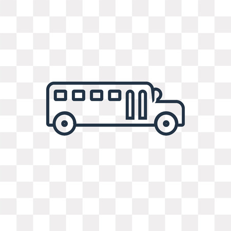 School bus vector outline icon isolated on transparent background, high quality linear School bus transparency concept can be used web and mobile