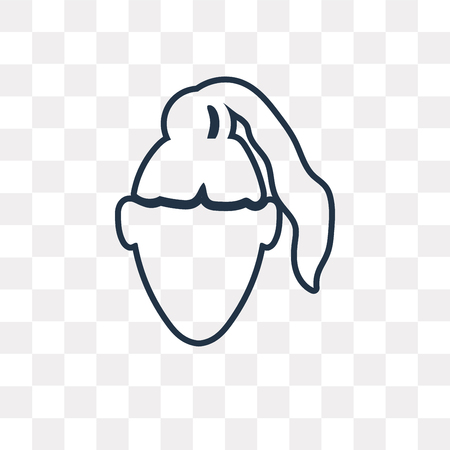 Woman Head with Ponytail vector outline icon isolated on transparent background, high quality linear Woman Head with Ponytail transparency concept can be used web and mobile Illustration