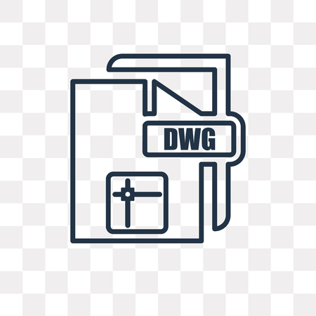 Dwg vector outline icon isolated on transparent background, high quality linear Dwg transparency concept can be used web and mobile Illustration