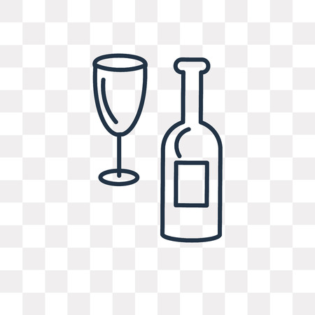 Wine vector outline icon isolated on transparent background, high quality linear Wine transparency concept can be used web and mobile