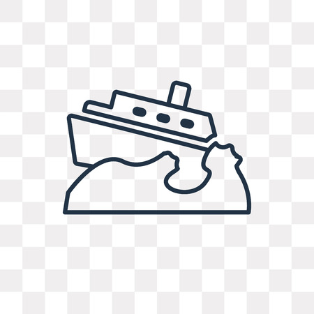 Boat Capsizes vector outline icon isolated on transparent background, high quality linear Boat Capsizes transparency concept can be used web and mobile