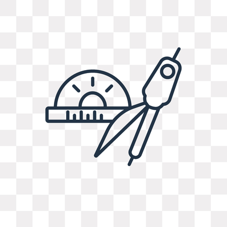 Protractor vector outline icon isolated on transparent background, high quality linear Protractor transparency concept can be used web and mobile
