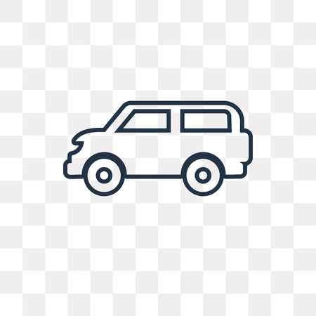Van side view vector outline icon isolated on transparent background, high quality linear Van side view transparency concept can be used web and mobile Vettoriali