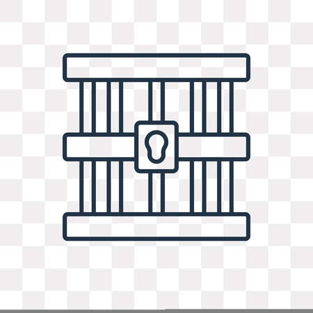 Prison vector outline icon isolated on transparent background, high quality linear Prison transparency concept can be used web and mobile