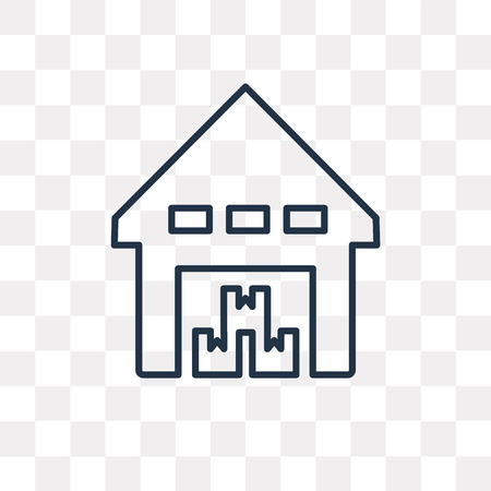 Storehouse vector outline icon isolated on transparent background, high quality linear Storehouse transparency concept can be used web and mobile  イラスト・ベクター素材