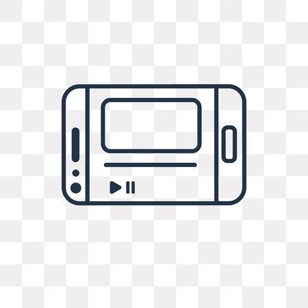 Media player vector outline icon isolated on transparent background, high quality linear Media player transparency concept can be used web and mobile Vettoriali