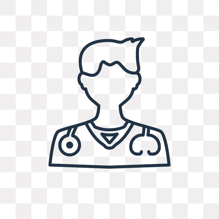 Doctor vector outline icon isolated on transparent background, high quality linear Doctor transparency concept can be used web and mobile
