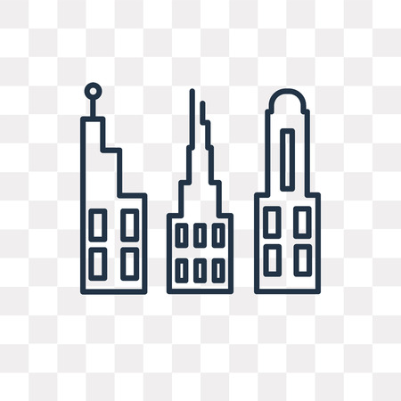 Buildings vector outline icon isolated on transparent background, high quality linear Buildings transparency concept can be used web and mobile